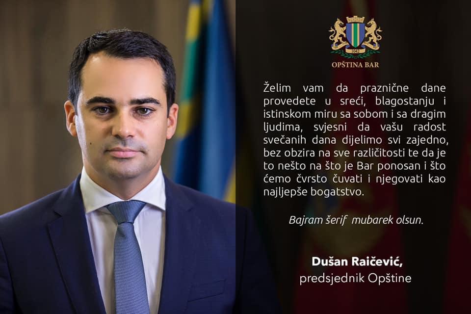 Čestitka predsjednika Opštine Dušana Raičevića povodom islamskog praznika Kurbana bajrama.